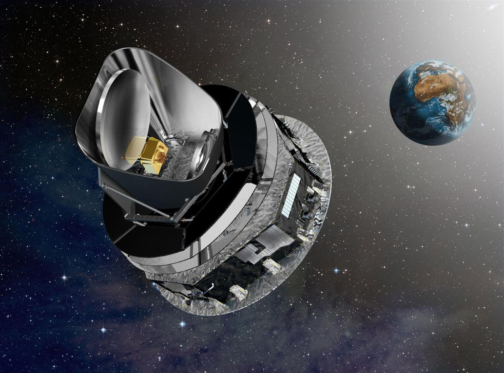 Artist's conception of the European Space Agency's (ESA's) Planck observatory cruising to its orbit