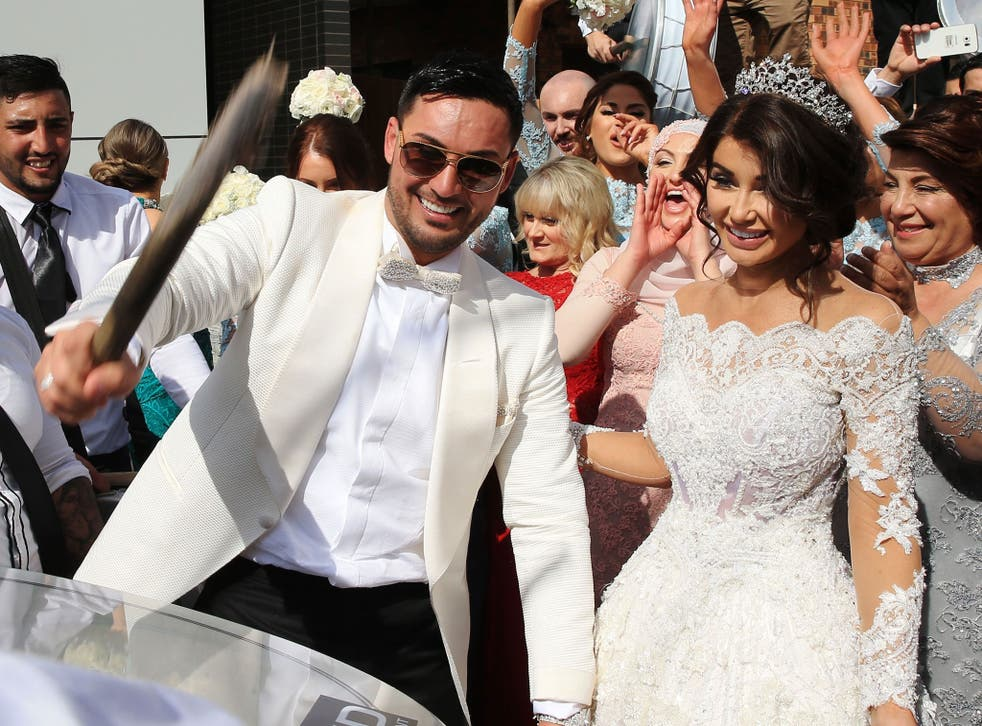 Salim Mehajer and his wife, Aysha, party outside their Sydney home on their lavish wedding day