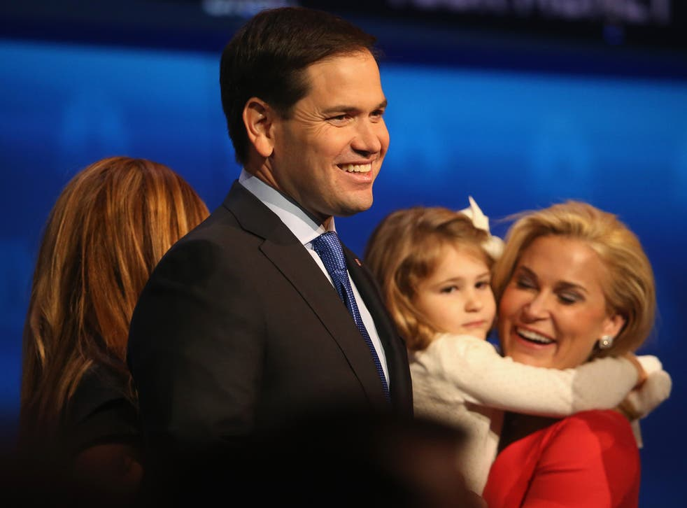 Marco Rubio, pictured on stage with family members, delivered a polished performance in which he took on Jeb Bush