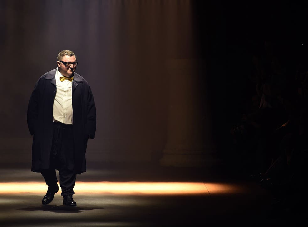 Alber Elbaz at the end of Lanvin's 2016 Spring/Summer ready-to-wear fashion show in Paris earlier this month