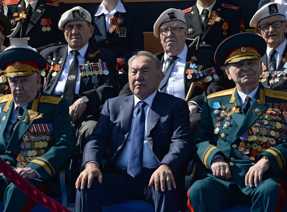 President of Kazakhstan Nursultan Nazarbayev at a military parade in Moscow