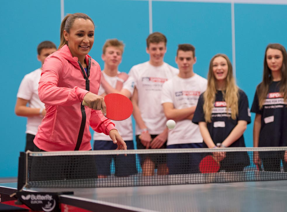 Jessica Ennis-Hill plays table tennis at the Sky Academy Conference Day in Sheffield, an event aimed at involving more youngsters in sport