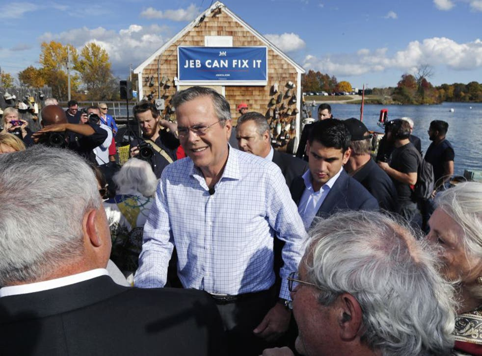 Jeb Bush on thecampaign trail in New Hampshire last week