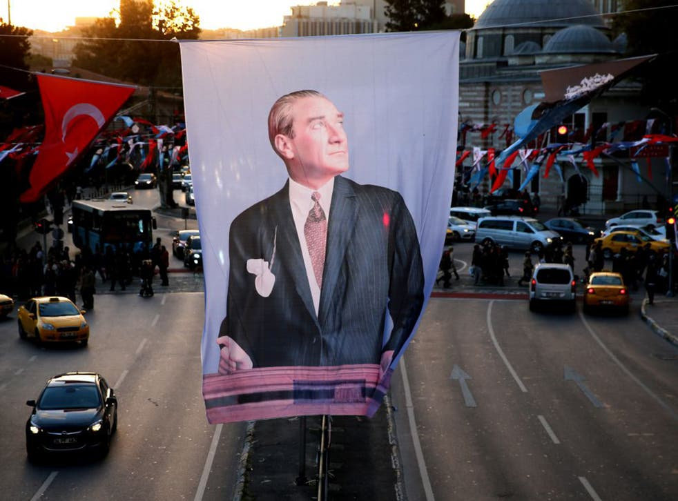 Mustafa Kemal Ataturk, founder of the republic, in  Besiktas Square, Istanbul