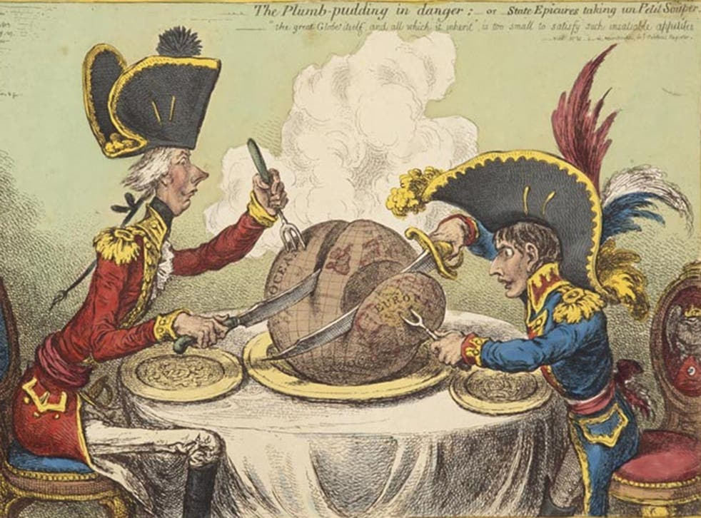 Gillray's world being fought over by Napoleon and Pitt