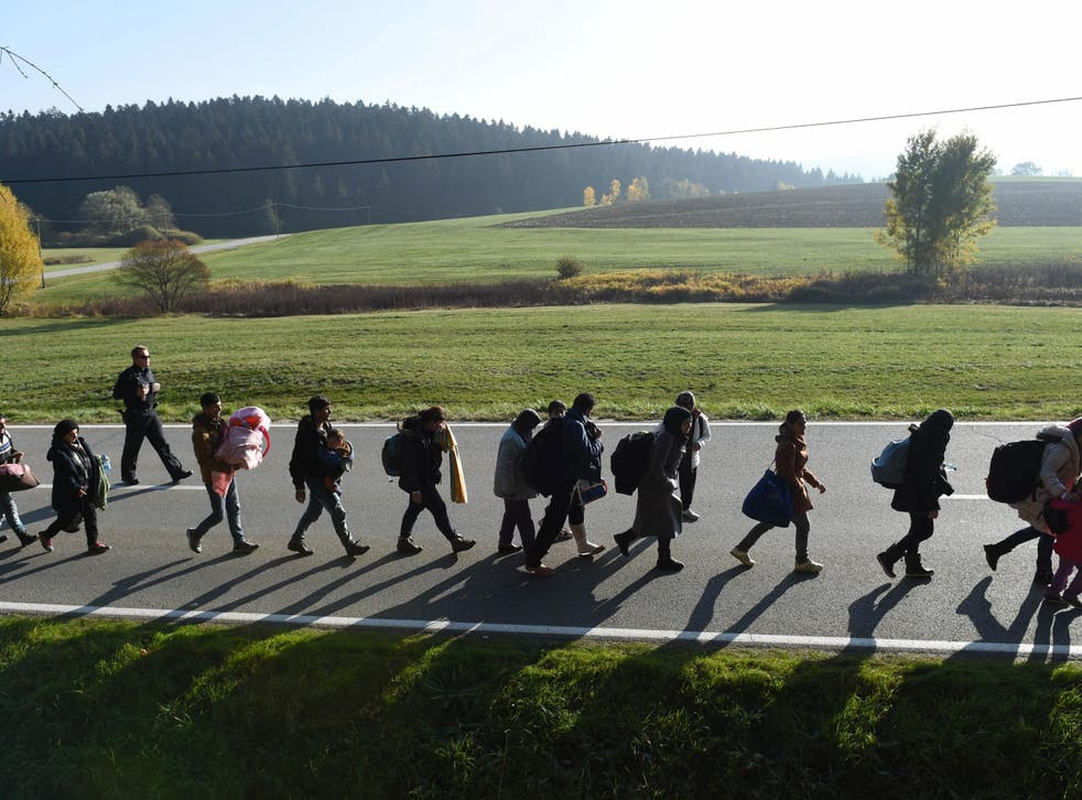 Migrants walk on the road after crossing the Austrian-German border in southern Germany on 30 October