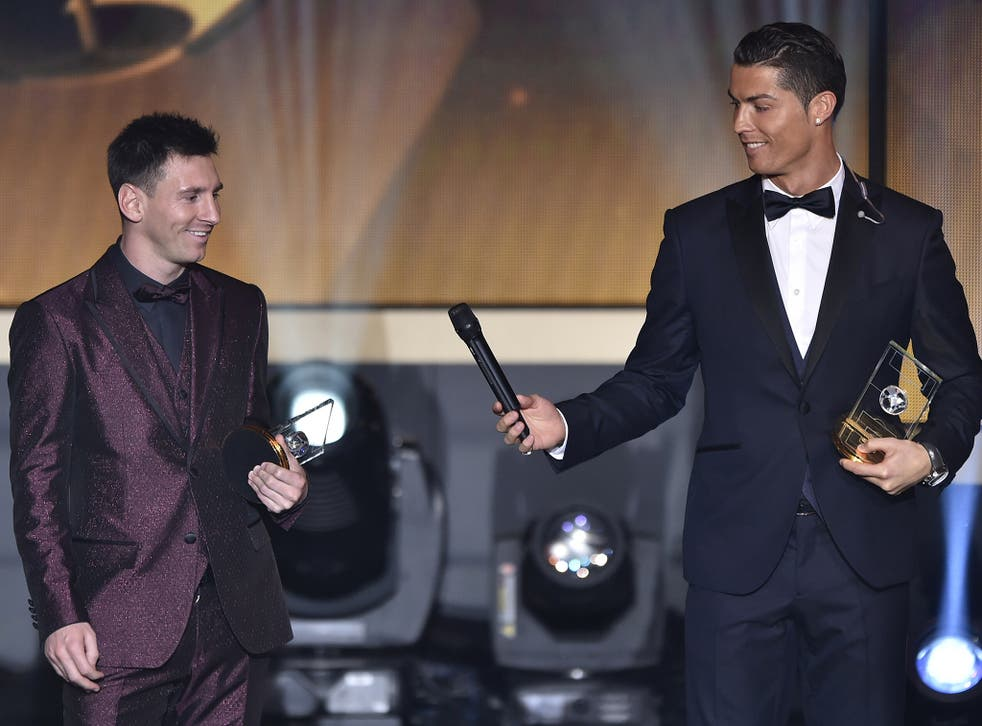 Lionel Messi and Cristiano Ronaldo at this year's Ballon d'Or ceremony in January