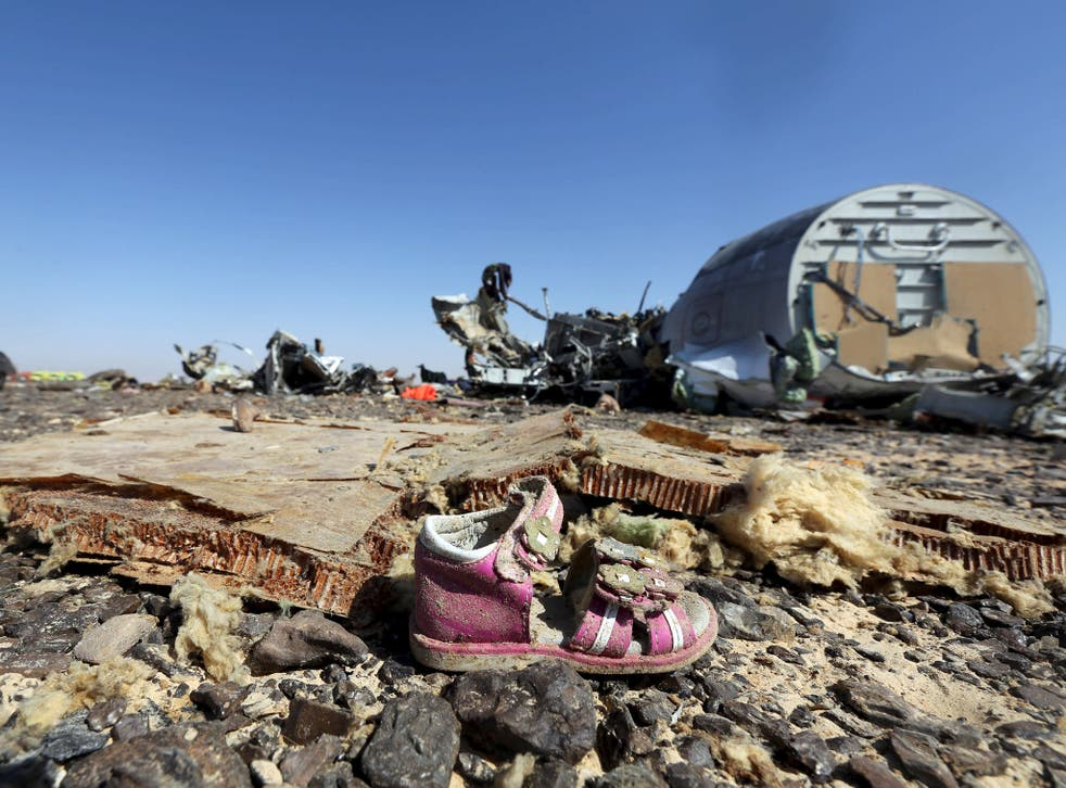 A child's shoe is seen in front of debris from a Russian airliner which crashed at the Hassana area in Arish city, north Egypt. Russia has grounded Airbus A321 jets flown by the Kogalymavia airline, Interfax news agency reported , after one of its fleet crashed in Egypt's Sinai Peninsula, killing all 224 people on board