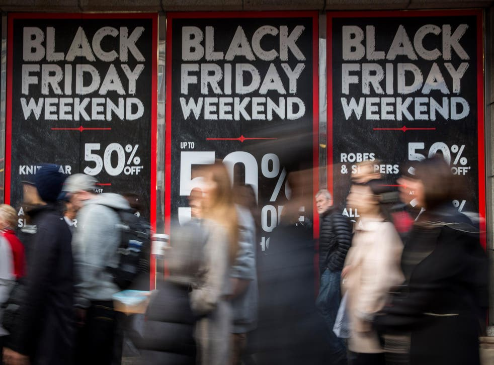 Black Friday shoppers look for deals on Oxford Street in London