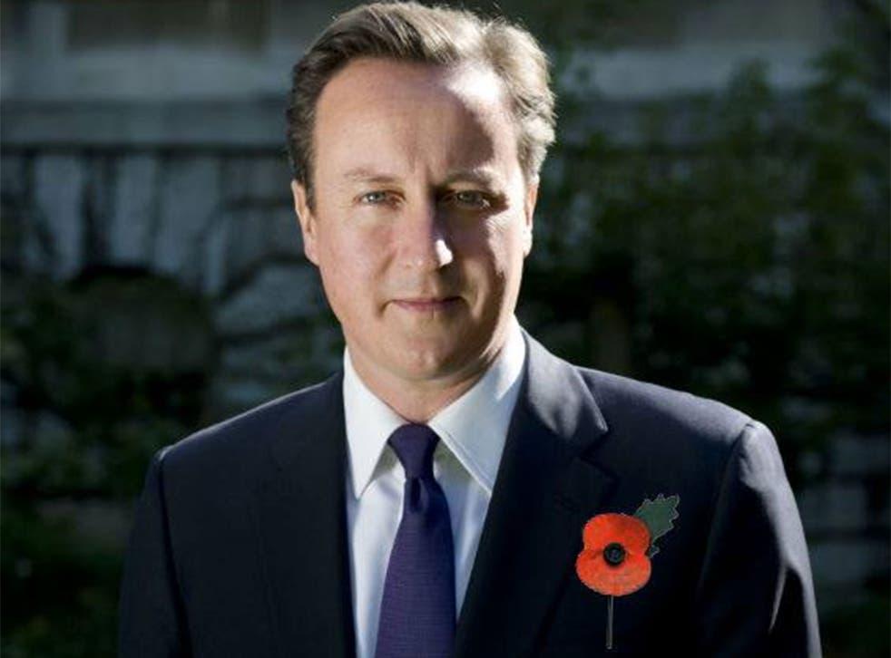 David Cameron with the photoshopped poppy