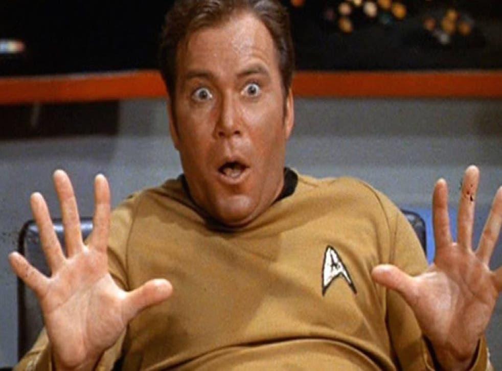 Captain Kirk looking very shocked.