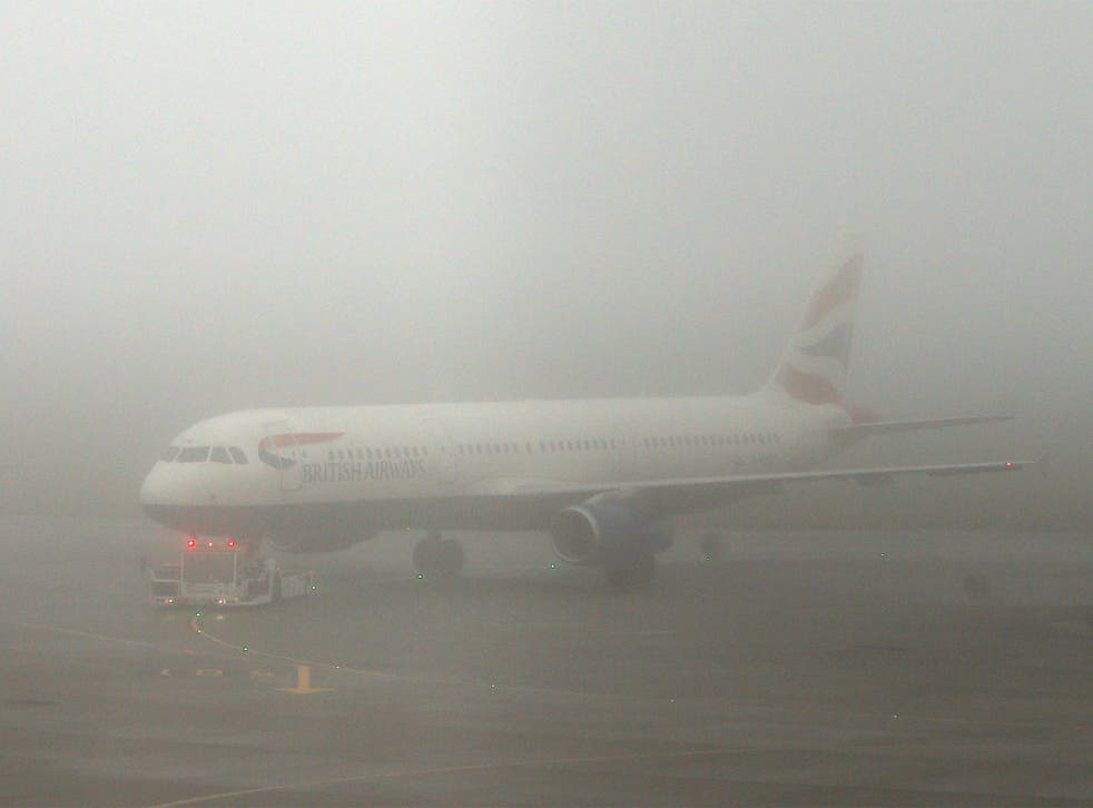 The fog caused havoc at Heathrow yesterday, grounding more than 100 flights