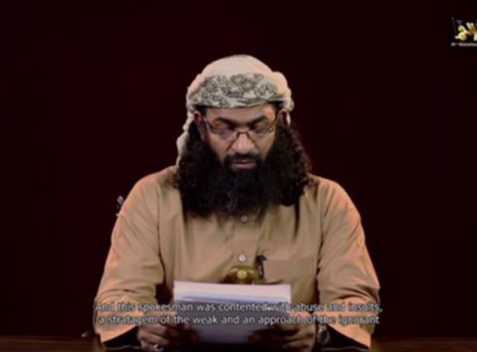 Khalid Batarfi, a senior member of al-Qaeda in the Arabian Peninsula, reads a statement condemning the Islamic State militant group