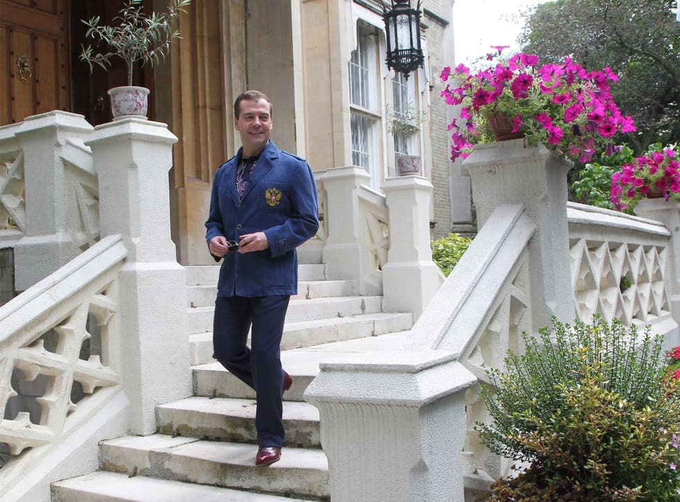 Russian Prime Minister Dmitry Medvedev at the embassy in 2012. Vadim Bezkorovainiy is alleged to have been there three times last year