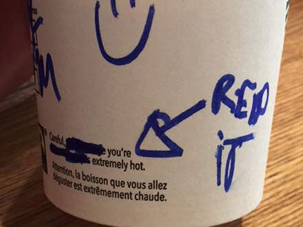 Starbucks On Cup'The 'writes Message Coffee Creepy Barista f6IbymY7vg