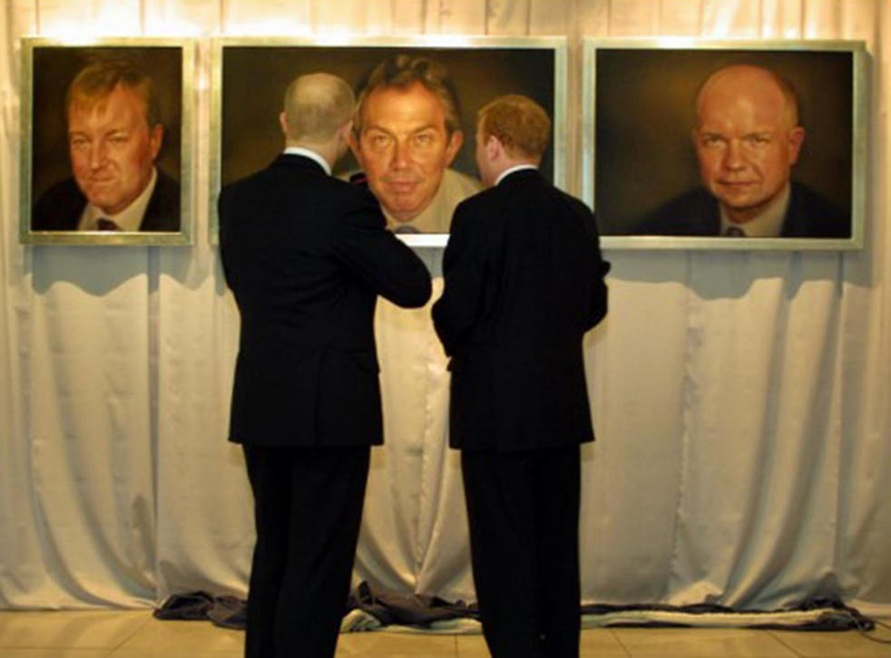 William Hague and Charles Kennedy admire their portraits and that of Tony Blair, all painted by Jonathan Yeo (Photo: David Sandison)