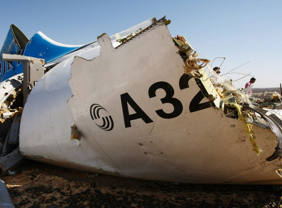 The wreckage of the A321 Russian airliner in Wadi al-Zolomat, a mountainous area of Egypt's Sinai Peninsula