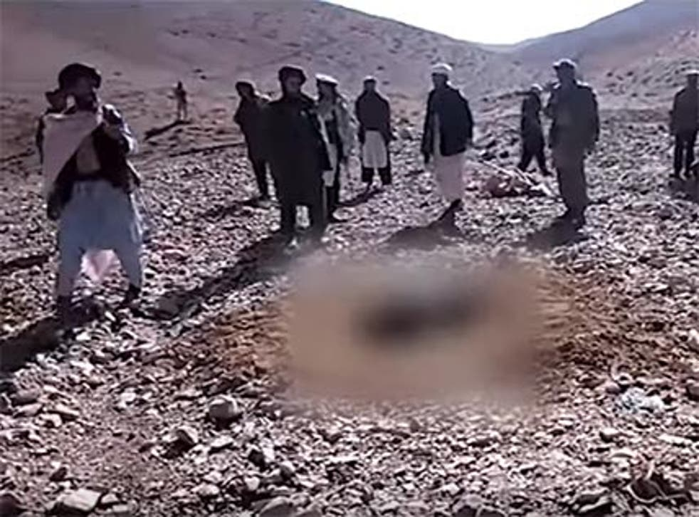 A still from the video purportedly showing the woman being stoned