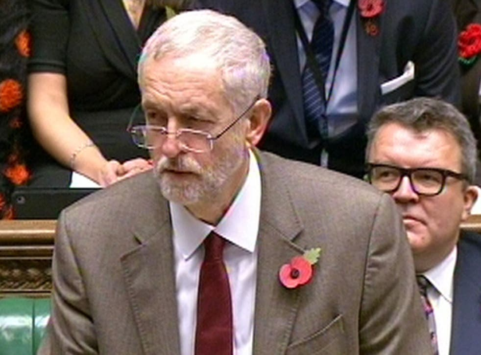 Jeremy Corbyn speaks during Prime Minister's Questions in the House of Commons, London