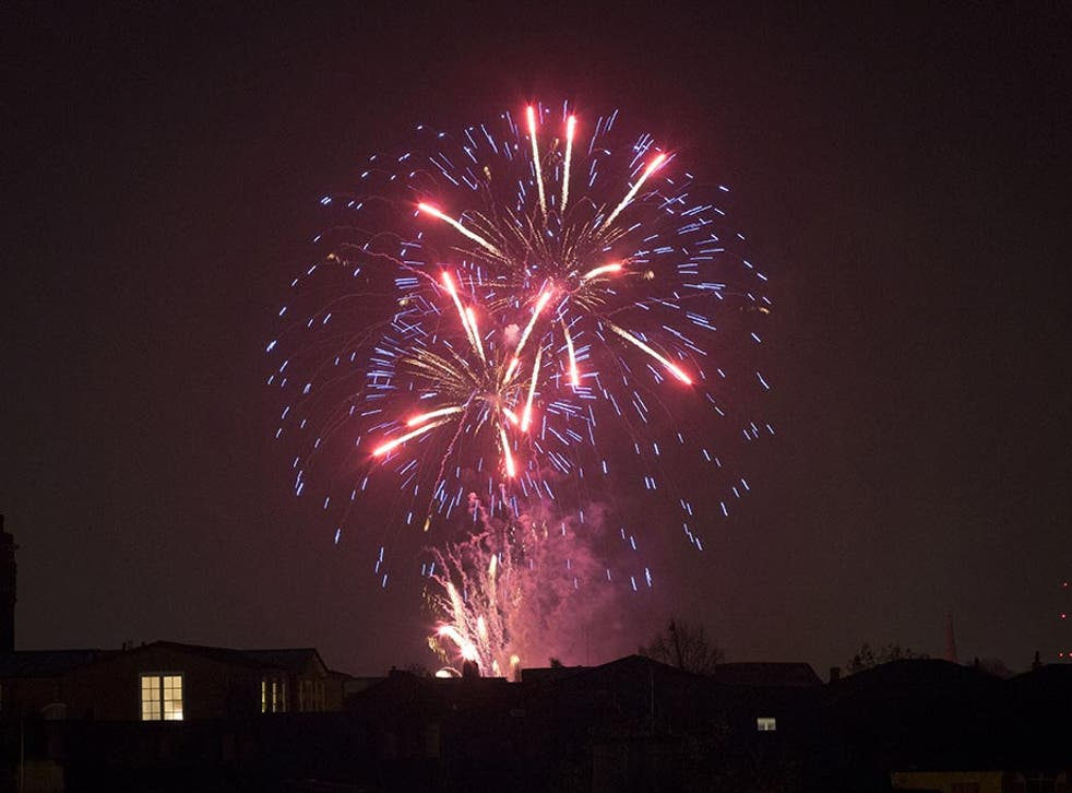 Bonfire Night in London is expected to be hit by rain. A fireworks display in London in 2014.