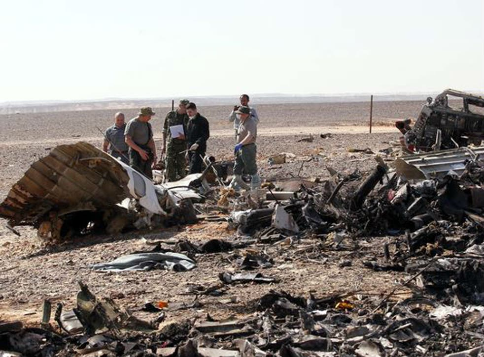 Wreckage at the scene in the Sinai
