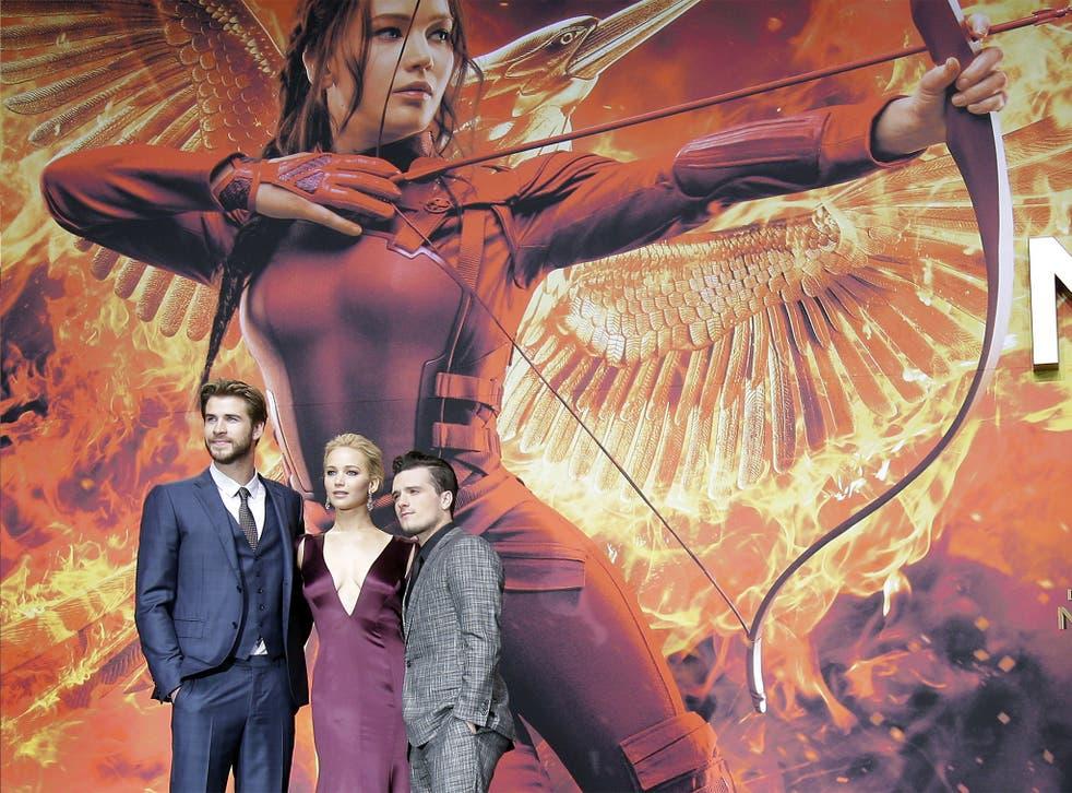 Liam Hemsworth, Jennifer Lawrence, and Josh Hutcherson at the Berlin premiere on Wednesday night