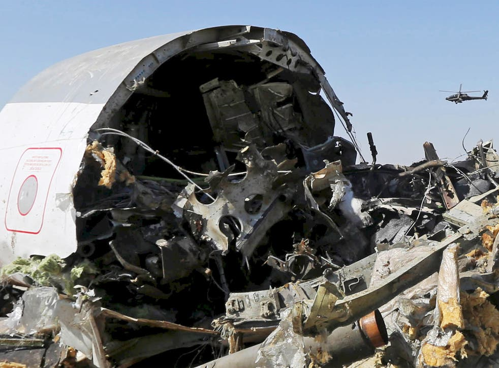 The debris of the Russian airliner which is being examined by Russian and Egyptian experts