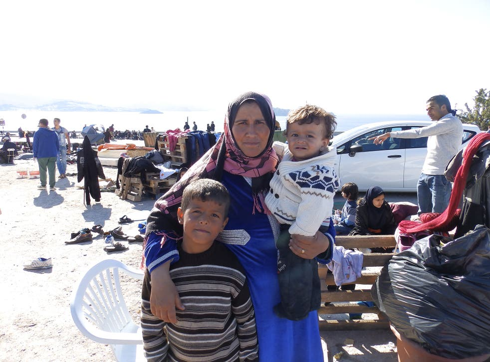 Asma and her children at the Oxy transit camp in Lesbos