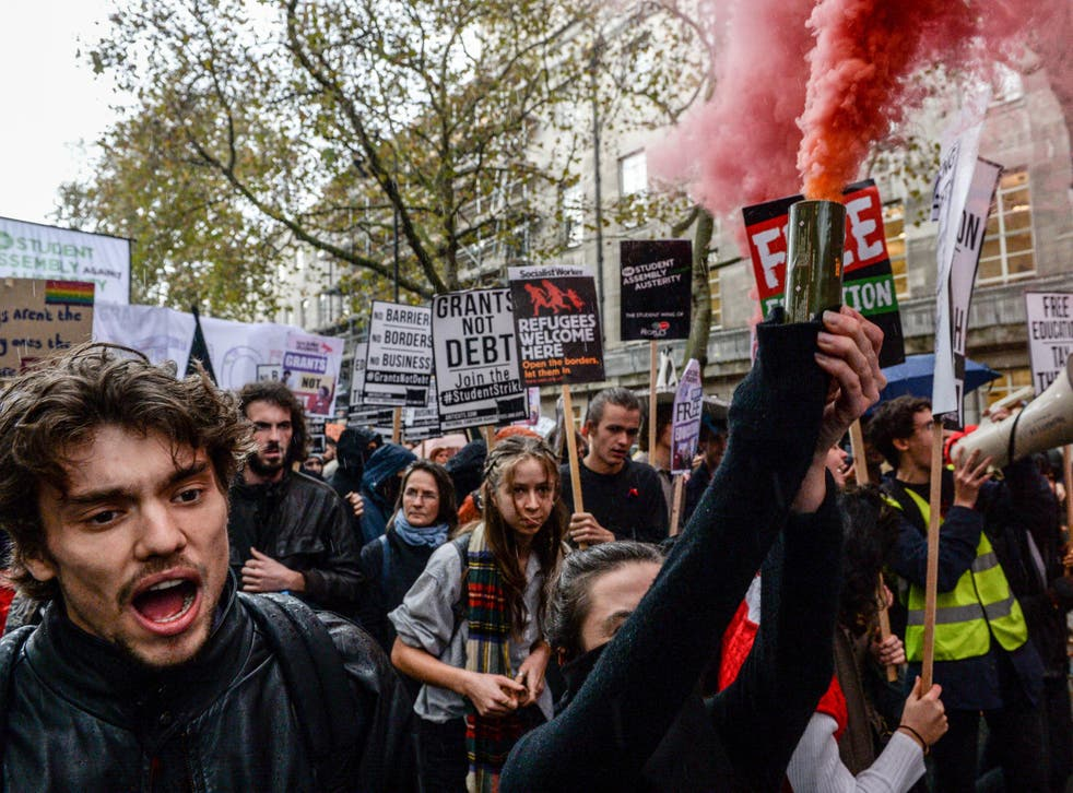 Students marched through Central London on Wednesday