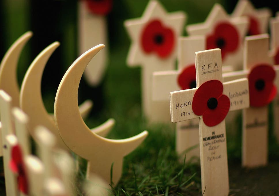 e14a5843ef Wooden crescents represent Muslim soldiers in Westminster Abbey's Royal  British Legion Poppy Factory Field of Remembrance