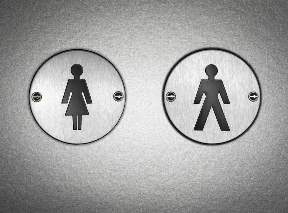 A bathroom sign