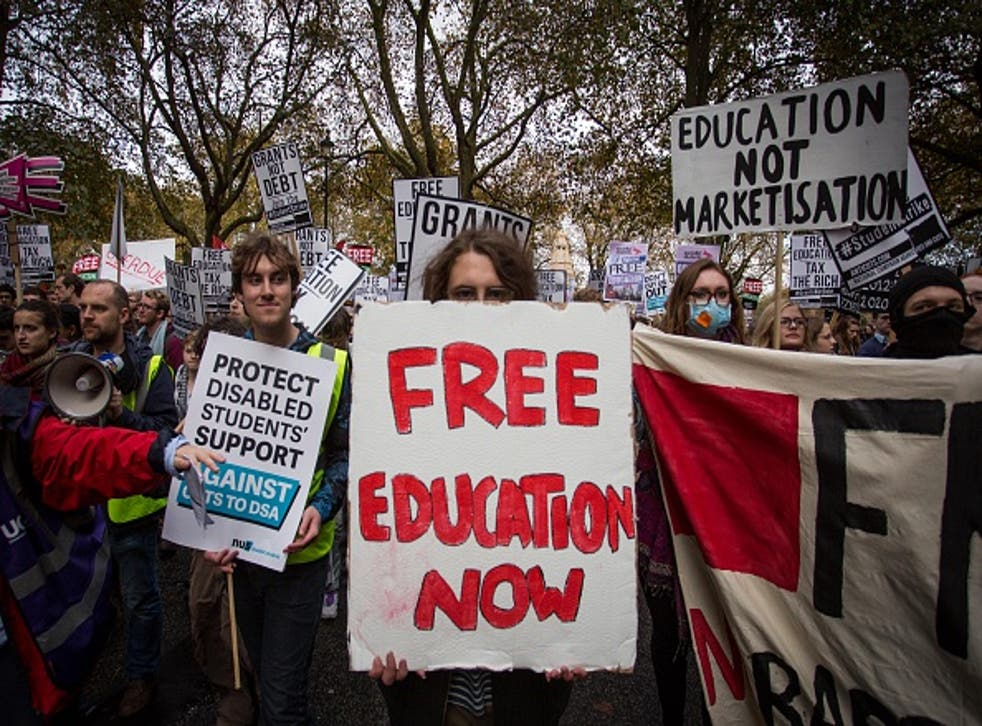 Protesters march in Central London this week during a demonstration against education cuts and tuition fees