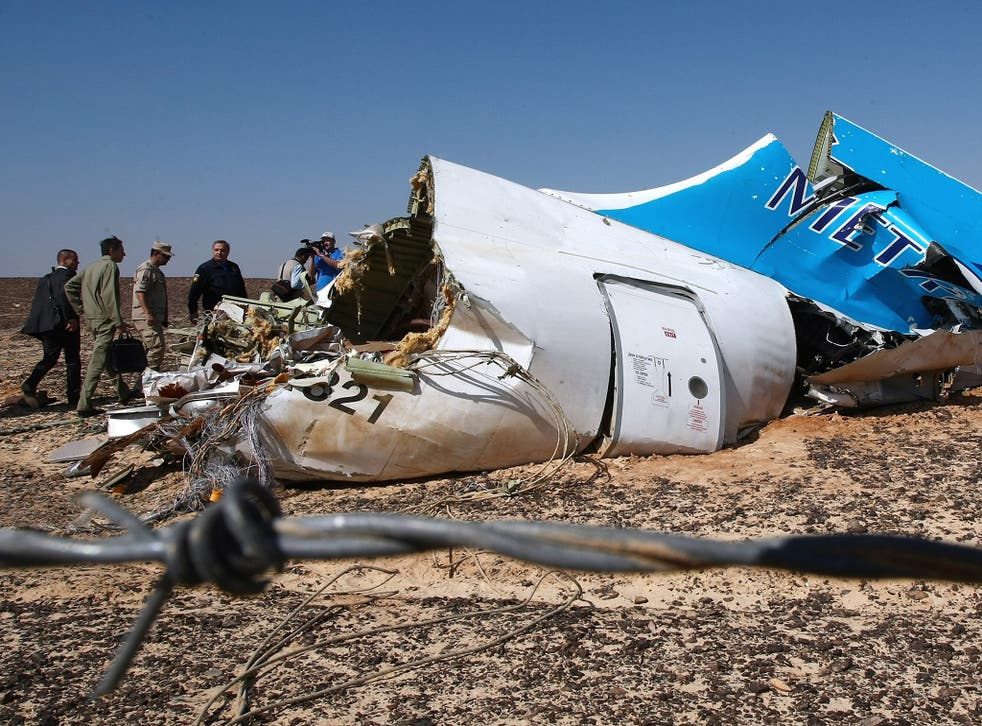 Russian Emergency Situations Minister Vladimir Puchkov (4-L) and unidentified officials near a piece of wreckage of Russian MetroJet Airbus A321 at the site of the crash in Sinai, Egypt