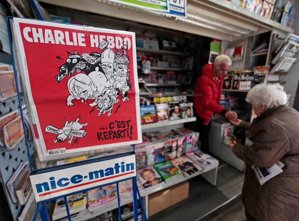 Satirical French magazine Charlie Hebdo on sale