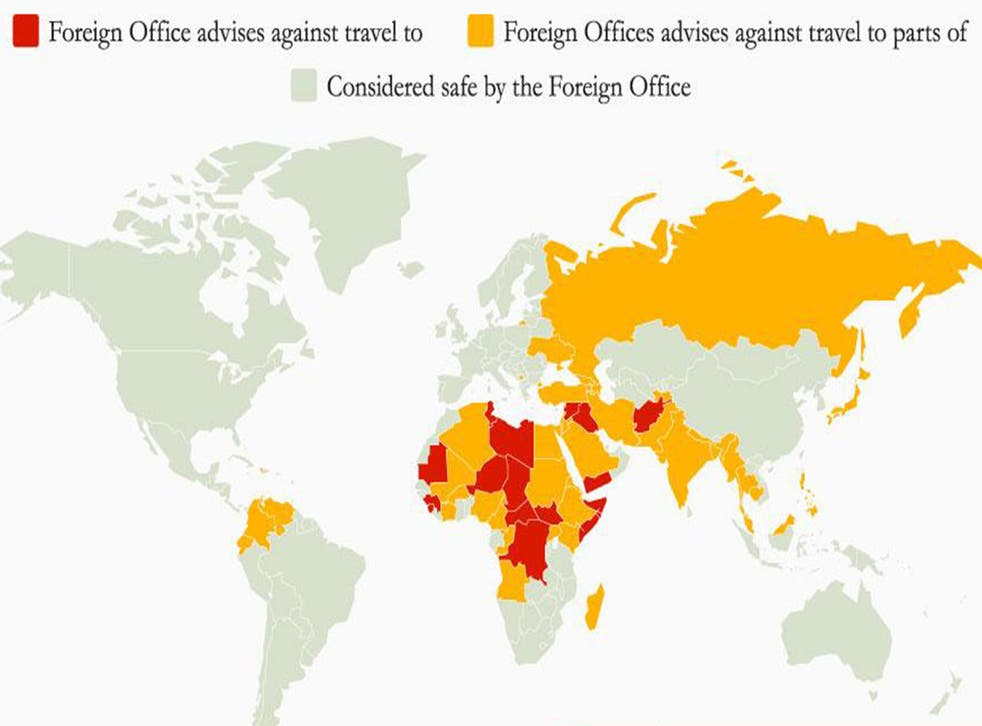 The map shows countries deemed safe, partly safe or unsafe by the UK government