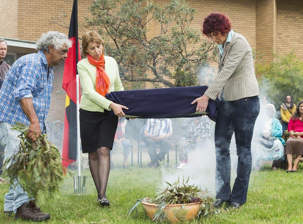 A traditional aboriginal smoking ceremony for remains of Mungo Man