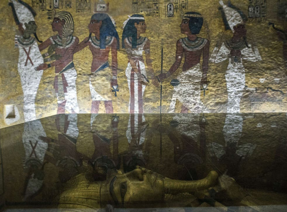 The golden sarcophagus of King Tutankhamun in his burial chamber at the Valley of the Kings