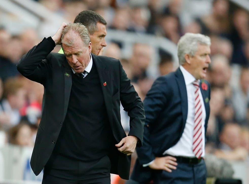 Newcastle head coach Steve McClaren endures a headache against Stoke City