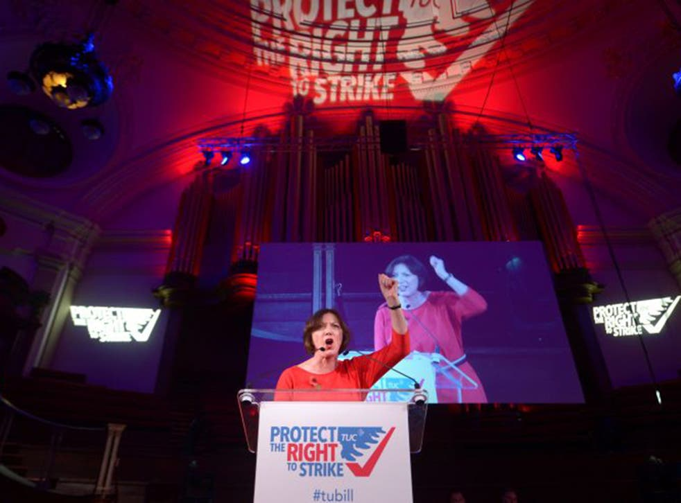 TUC general secretary Frances O'Grady gives the closing address during the TUC rally on 2 November