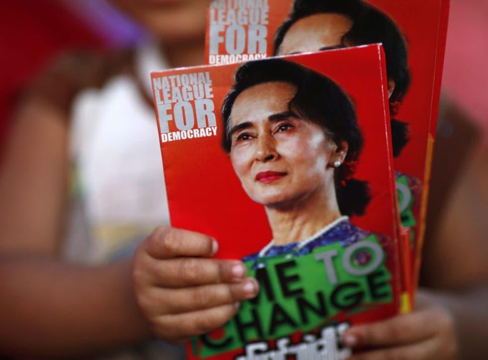 NLD leaflets for its leader Aung San Suu Kyi