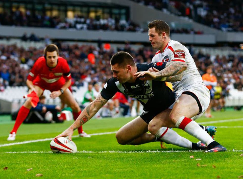 Touch of class: Shaun Kenny-Dowall claims the only try of the game