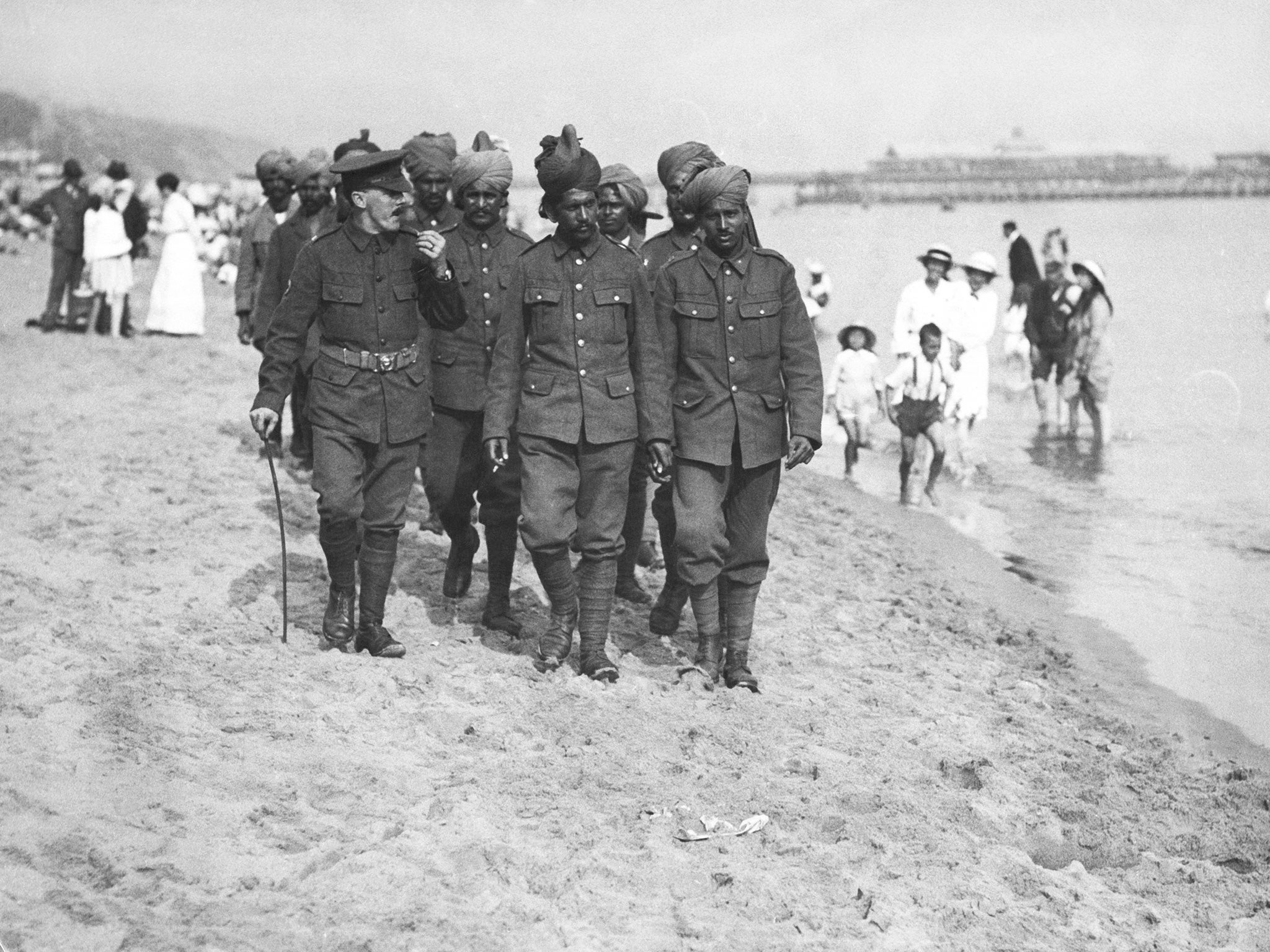 Indian soldiers recuperate on the beach in Bournemouth