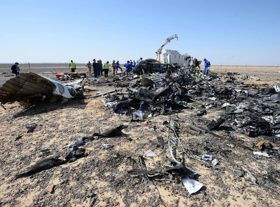 Some of the wreckage of the Airbus A321 flight which crashed in Sinai desert on 31st October