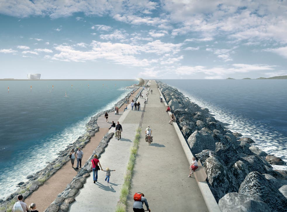 An artist's impression of the proposed barrage at Swansea Bay