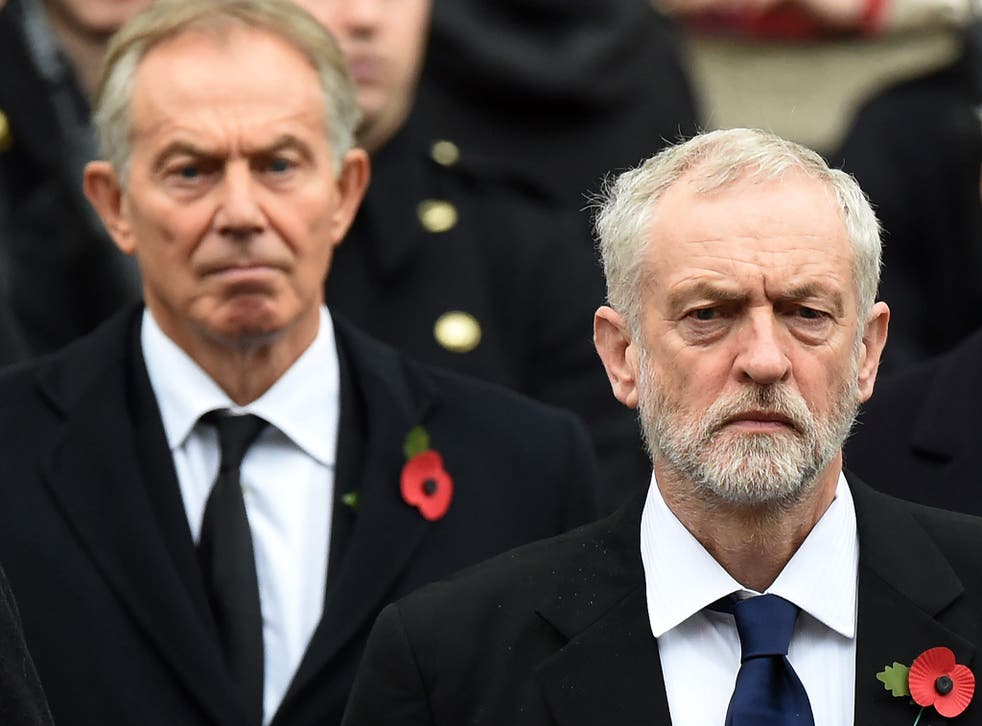 Jeremy Corbyn stands in front of Tony Blair at the Remembrance Sunday service at the Cenotaph