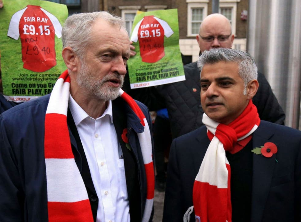 Labour's Sadiq Khan with party leader Jeremy Corbyn