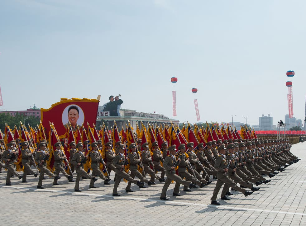 North Korean soldiers march on Kim Il-Sung square during a military parade marking the 60th anniversary of the Korean war armistice in Pyongyang