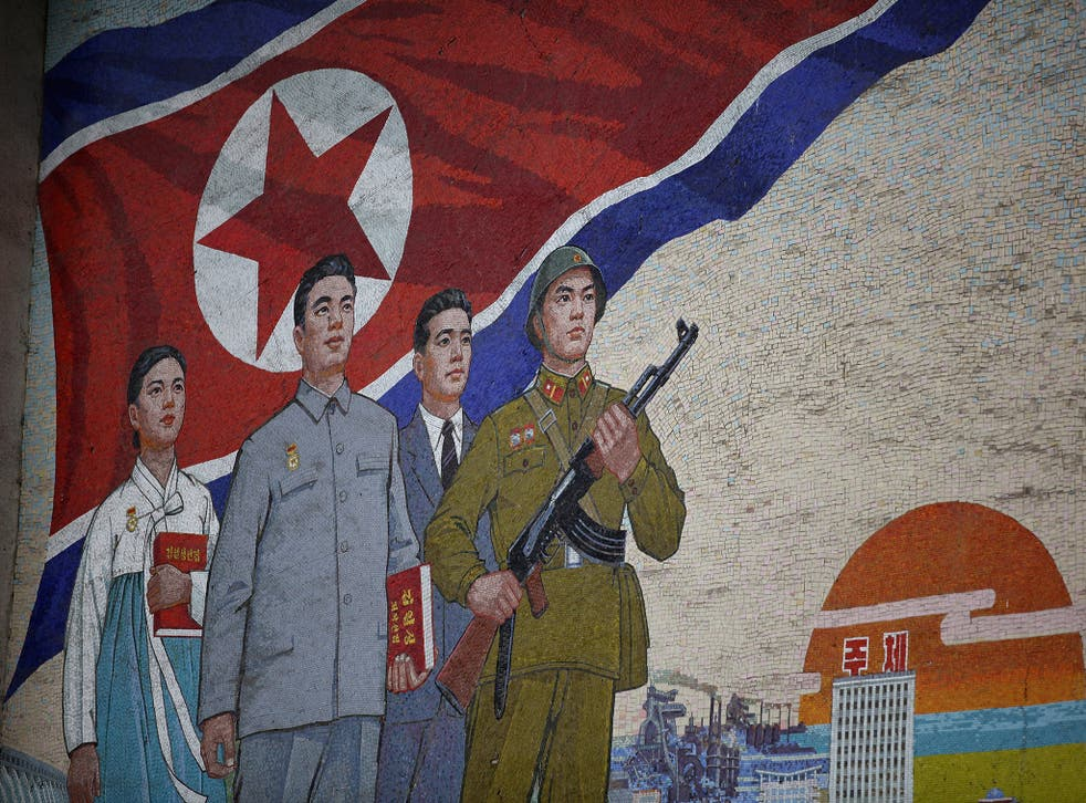 A mural painting outside the People's Palace of Culture in Noth Korean capital Pyongyang