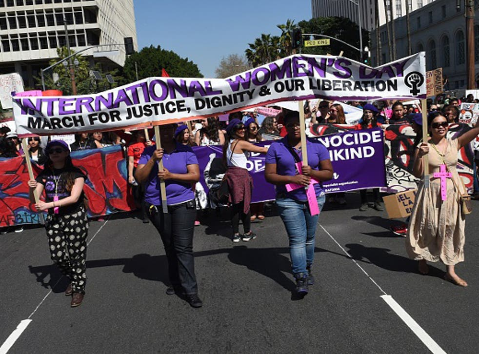 US campaigners marking International Women's Day in California in 2014