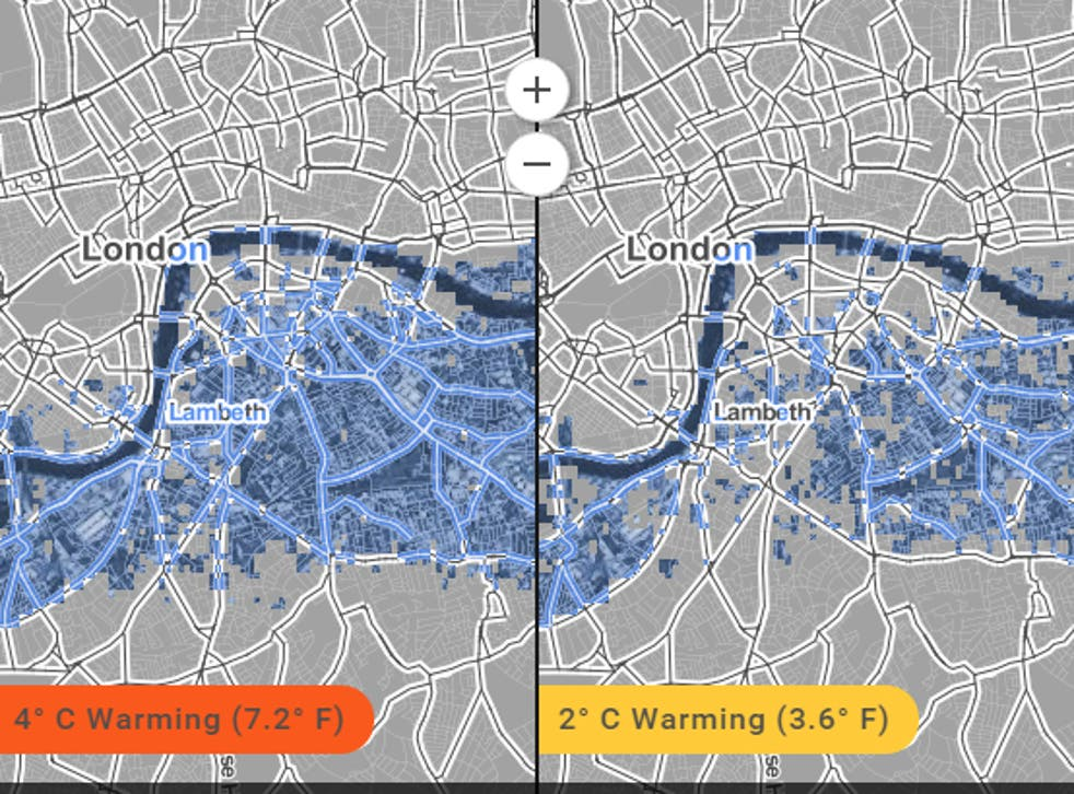 Whole areas of London face being wiped out by rising sea levels, according to the map